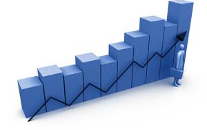 Diagrama gráfico azul ascendente