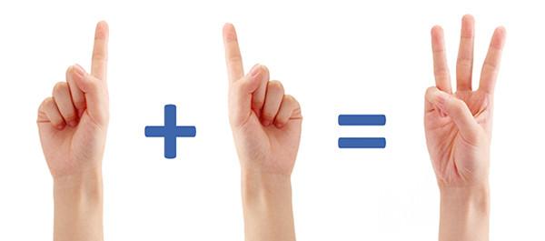Diagrama uno más uno igual a tres